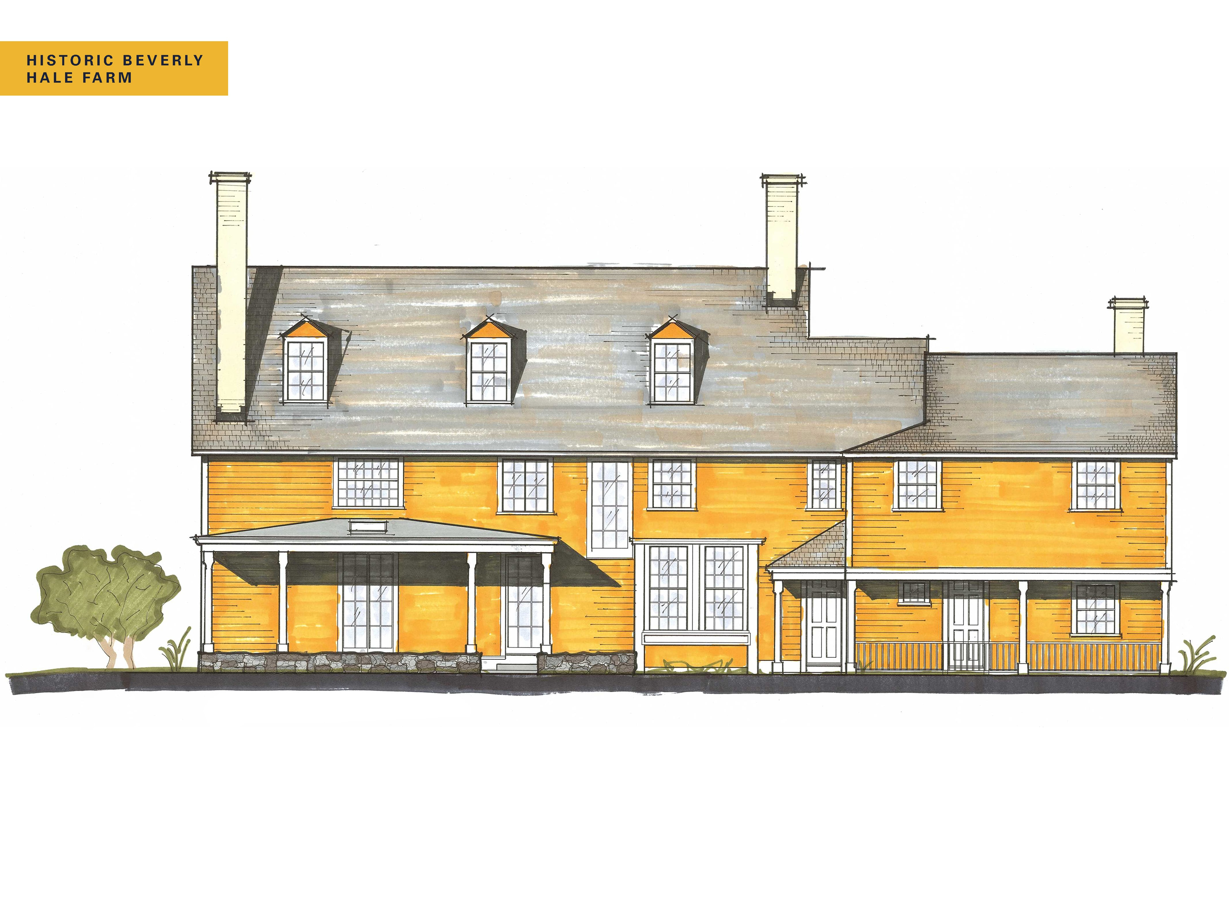 Historic Beverly Hale Farm Hero Rear Elevation Rendering with Name